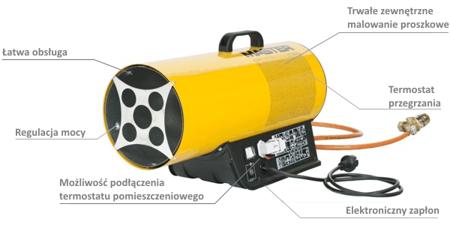 Nagrzewnica gazowa Master BLP 33ET + termostat TH5 10m + zestaw do sprzęgania butli