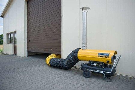 Nagrzewnica olejowa Master BV 290 E + termostat TH5 10-metrowy + przewody giętkie PVC 7,6 m + zestaw podłączeniowy